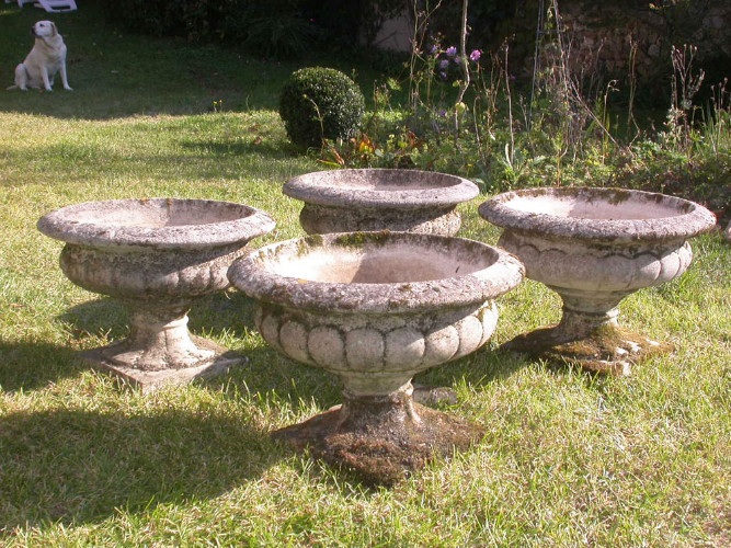 Lot de 3 VASQUES de JARDIN en pierre reconstituée - Années ...